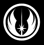Jedi Order Logo Vinyl Decal - White Window Sticker | 5.5 X 5 in Decal | CCI204