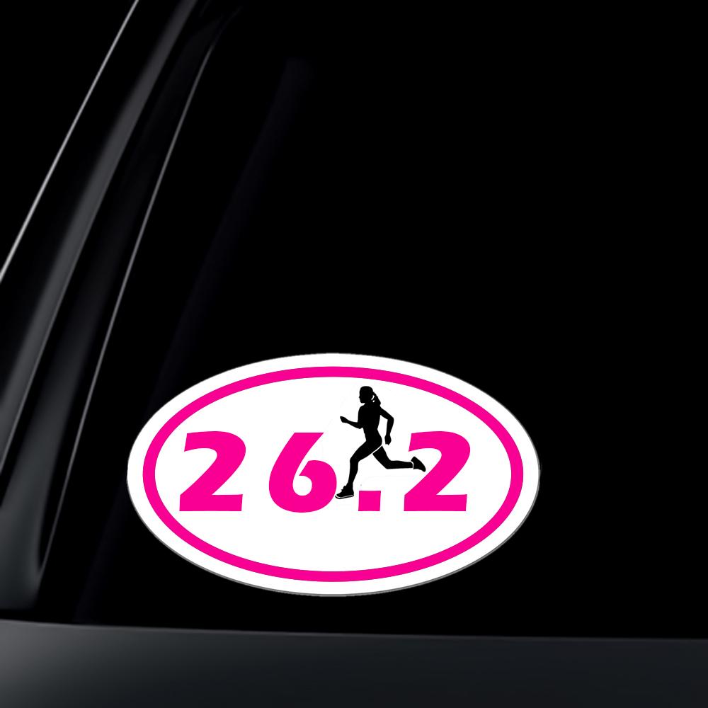 26 2 Marathon Girl Runner Euro Oval Car Decal Sticker