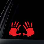 SET of 2: Bloody Hand Print Zombie Outbreak Car Decal / Sticker