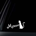 Cat Silhouette Meow for Cat Lovers Car Decal / Sticker