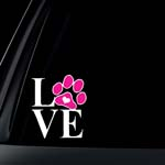 Love Dog Cat Paw Print with Heart Car Decal / Sticker