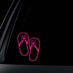 Hibiscus Flower on Flip Flop Car Decal / Sticker