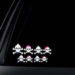 Skull Family Pink Bow & Blue Bow Tie Car Decal / Sticker