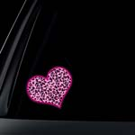 Leopard Print Colored Heart Car Decal / Sticker