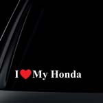 I Love My HONDA w/ RED Heart Car Decal / Sticker