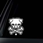 PUG Dog w/ Bone Car Decal / Sticker