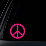 PINK Peace Sign Car Decal / Sticker
