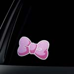 GLITTER PINK Bow Car Decal / Sticker