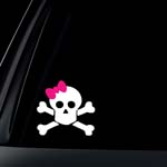 Skull with Pink Bow Car Decal / Sticker