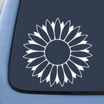 Flower Sunflower White Sticker Decal Notebook Car Laptop