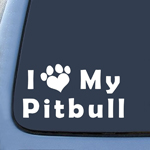 I Love My Pitbull Dog Sticker Decal Notebook Car Laptop