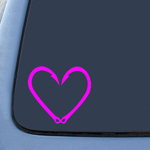 Fish Hook Love Heart Sticker Decal Notebook Car Laptop
