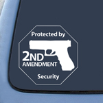Protected by 2nd Amendment Security Gun Sticker Decal Notebook Car Laptop