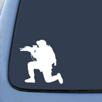 US Soldier Silhouette Army Shooter Guns Sticker Decal Notebook Car Laptop