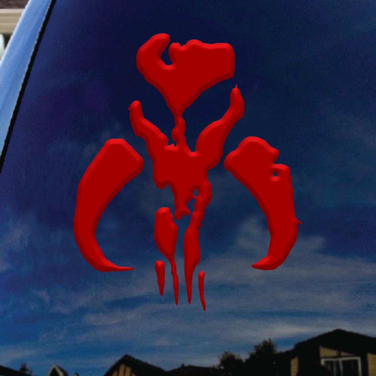 f174bf48f6f5 Mandalorian Mythosaur Bantha Skull Red Car Window Vinyl Decal Sticker