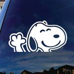 Peanuts Cartoon Dog Waving Car Truck Laptop Sticker Decal 5
