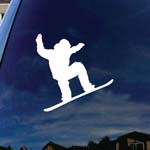 Snowboarder Jumping Silhouette Car Window Vinyl Decal Sticker