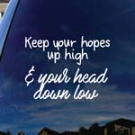 Keep Your Hopes Up High And Your Head Down Low Band Lyrics Car Window Vinyl Decal Sticker