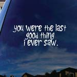 You Were The Last Good Thing I Ever Saw Band Lyrics Car Window Vinyl Decal Sticker