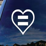 Human Rights Equal Sign Heart Car Truck Laptop Sticker Decal