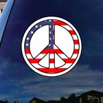 Peace Sign USA Flag America Car Truck Laptop Sticker Decal