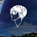 Headphones Pop Silhouette Car Window Vinyl Decal