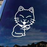 Happy Kitty Licking Paw Car Window Vinyl Decal Sticker 6