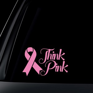 Think Pink Breast Cancer Pink Ribbon Car Decal / Sticker