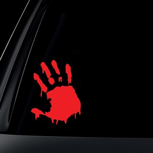 Bloody Hand Print Zombie Outbreak Car Decal / Sticker