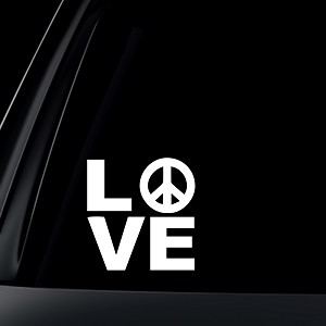 LOVE w/ Peace Sign Car Decal / Sticker