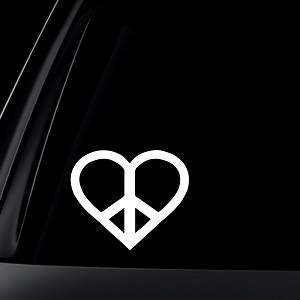 Heart Peace Sign Car Decal / Sticker