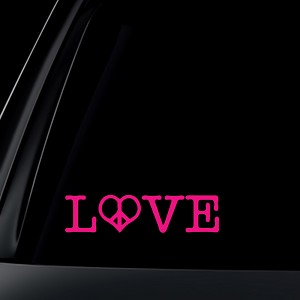 Love with Heart Peace Sign Car Decal / Sticker