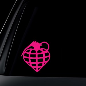 Heart Hand Grenade Car Decal / Sticker