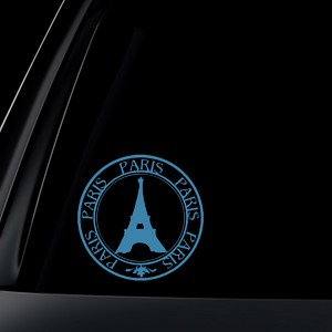 Paris France Stamp Bumper Sticker Eiffel Tower Round Car Decal