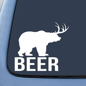 Bear + Deer = BEER? funny Sticker Decal Notebook Car Laptop