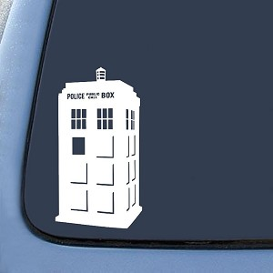 White Corner Police Box Tardis Sticker Decal Notebook Car Laptop