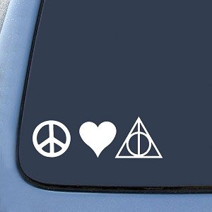 Peace Love Deathly Hallows Sticker Decal Notebook Car Laptop