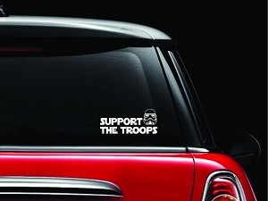 CCI Support The Troops Storm Trooper Decal Vinyl Sticker|Cars Trucks Vans Walls Laptop| White |7.5 x 3.25 in|CCI1152
