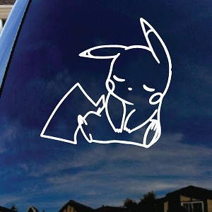 Pikachu Cartoon Character Sleeping Car Window Vinyl Decal Sticker