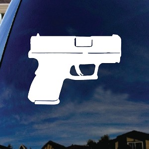 "Pistol Firearm Gun Car Truck Laptop Sticker Decal 5"" Tall"