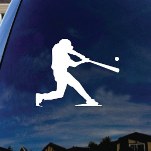 Baseball Player at Bat Car Window Vinyl Decal Sticker