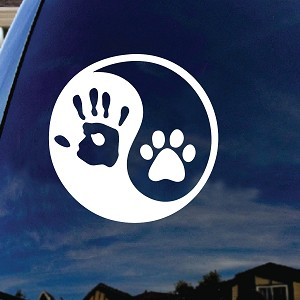 Ying Yang Human Hand Dog Paw Car Window Vinyl Decal Sticker