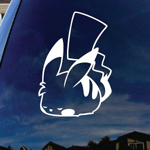 Cartoon Parody Pikachu Sleeping Vinyl Car Decal Sticker White