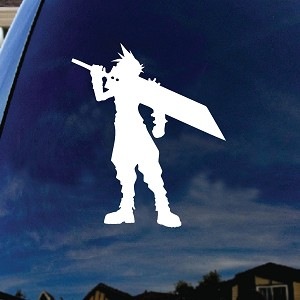 "Cloud Cartoon Character Buster Sword Car Window Vinyl Decal Sticker 7"" Tall"