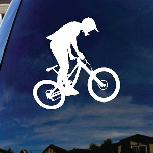 "Mountain Bike Silhouette Car Window Vinyl Decal Sticker 6"" Wide"