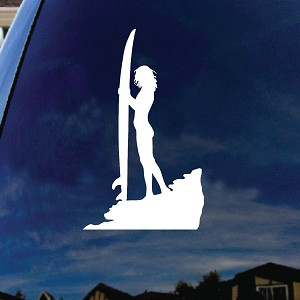 "Sexy Surfer Girl Surfboard Silhouette Car Window Vinyl Decal Sticker 4"" Wide"