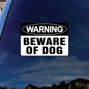 "Beware of Dog Car Window Vinyl Decal Sticker 6"" Wide"