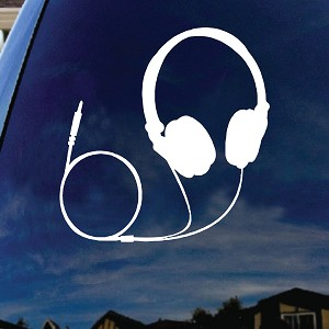 "Headphones Music Silhouette Car Window Vinyl Decal Sticker 6"" Tall"