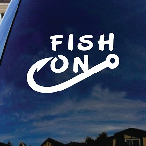 "Fish on Hook Car Window Vinyl Decal Sticker 6"" Wide"