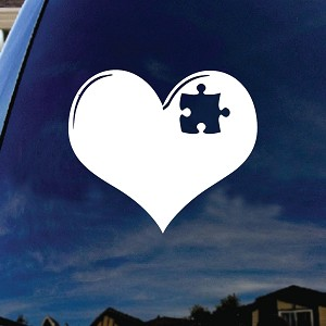 "Austism Love Heart Puzzle Car Window Vinyl Decal Sticker 5"" Wide"